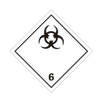 危险品标识(感染性物质 6 )- 高性能不干胶,100mm×100mm,20张/包