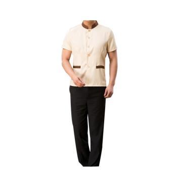 西域推荐 短袖保洁制服,短袖米色XXL+黑色裤子L