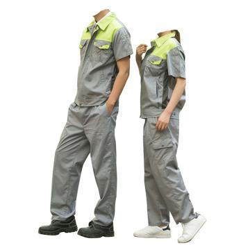 沽衣邦 涤棉夏季短袖工作服,灰色 绿色肩 170