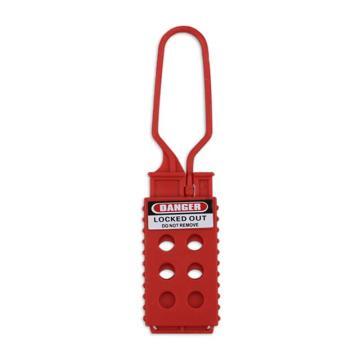 安赛瑞 经济型绝缘安全锁钩,尼龙材质,锁梁Ф7mm,红色,45×157mm,孔径0.95cm,34004