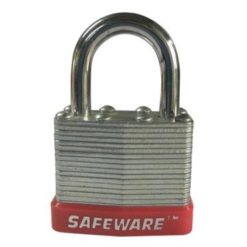 安赛瑞 钢制千层安全挂锁-红,锁梁Ф6mm,锁体长37mm,锁杆长度25mm,14705
