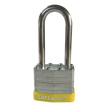 安赛瑞 长梁钢制千层安全挂锁-黄,锁梁Ф6mm,锁体长37mm,锁杆长度52mm,14713