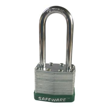 安赛瑞 长梁钢制千层安全挂锁-绿,锁梁Ф6mm,锁体长37mm,锁杆长度52mm,14715