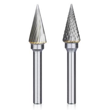 锥形尖头硬质合金旋转锉,刃径10mm 刃长20mm 柄径6mm,总长60mm,单槽刃