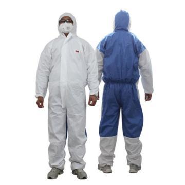 3M 欧标5级防化服,4535-M,白色带帽连体防护服 透气背部