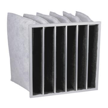 JAF 铝框活性炭袋式过滤器,宽*高*厚度592*592*381mm,过滤效率F5,板框厚度21mm,袋数6个