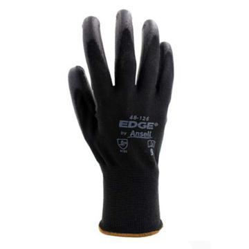 安思尔Ansell PU涂层手套,48126080,黑色涤纶PU掌部涂层手套