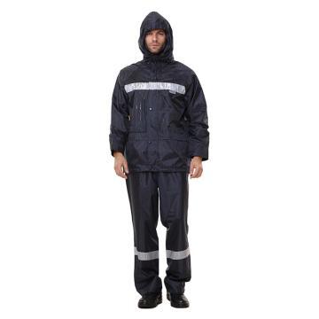 安大叔 反光雨衣,ZQR001-L,PU涂层 深蓝色