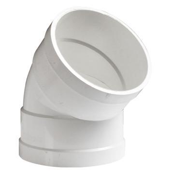 万鑫军联/WXJL 国标U-PVC排水管件 45°弯头,50mm