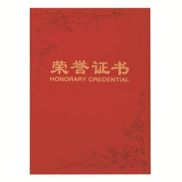 齐心 荣誉证书,C4592 纸面 B6 红 单本