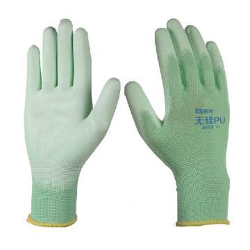 登升669PU涂层手套,绿色,尺码:8