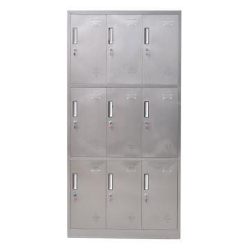 西域推荐 201不锈钢九门更衣柜,900宽*420深*1800高,灰白色,钢板厚度为0.7mm