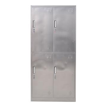 西域推荐 304不锈钢四门更衣柜,900宽*420深*1800高,灰白色,钢板厚度为0.7mm