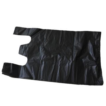 背带垃圾袋 马夹袋,黑色,36x56cm,折边9.5cm 48个每卷,厚度2.6丝 单位:卷