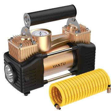沿途 车载充气泵 金属双缸 大功率机械表 汽车轮胎用 汽车用品 12v便携式电动打气泵 E21金色