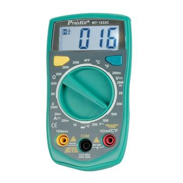 宝工 Pro'skit3 1/2数字电表 带温度测试,MT-1233C-C