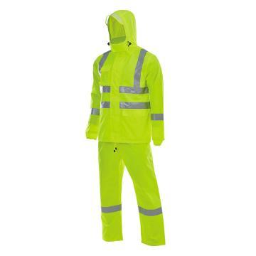 安大叔 反光雨衣,D763/C890-XL,PU涂层 荧光黄