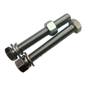 GB5783全牙镀锌8.8级外六角螺栓带加厚螺母平垫弹垫,M12-1.75*90,150套/箱