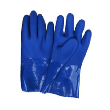 威士 PVC防化手套,916-9,邦蓝耐油浸塑止滑手套 均码