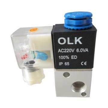 欧雷凯OLK 电磁阀,2位3通,PT1/8,3V1-06-AC220V