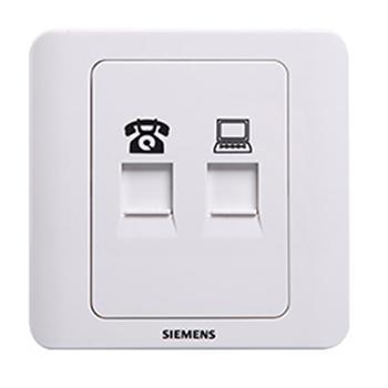 西门子SIEMENS 远景系列二位电脑电话插座(超5类),5TG01251CC1 雅白