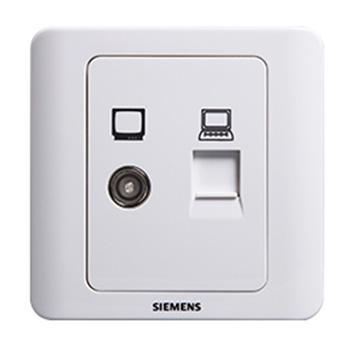 西门子SIEMENS 远景系列二位电脑电视插座(5-850MHz),5TG01161CC1 雅白