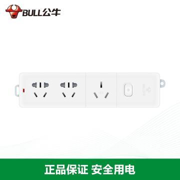 公牛BULL 接线板,总控开关(新国标),基础系列,GN-406D 无电线 3位