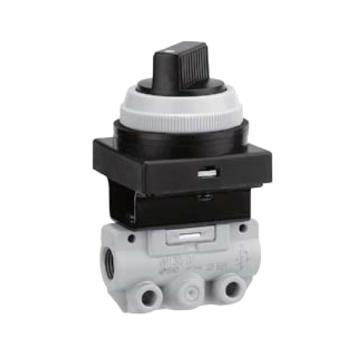 SMC 机控阀,手动操作,黄色旋钮(2位),侧配管,二位三通,R1/8,VM130-01-34YA