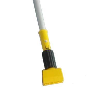 乐柏美Rubbermaid夹式湿拖把手柄,大型黄色塑胶把头,灰色铝质手柄R1822774