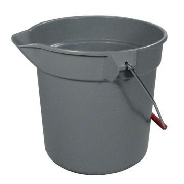 乐柏美Rubbermaid圆形桶,9.5L 灰色 FG296300GRAY