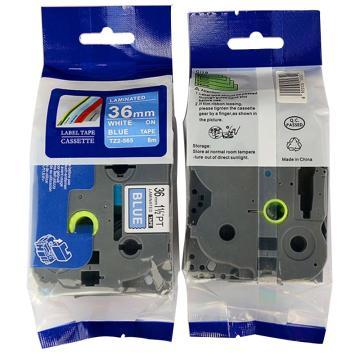 普贴 标签色带,蓝底白字TZ2-565宽度36mm 适用于兄弟TZ系列标签机 单位:卷
