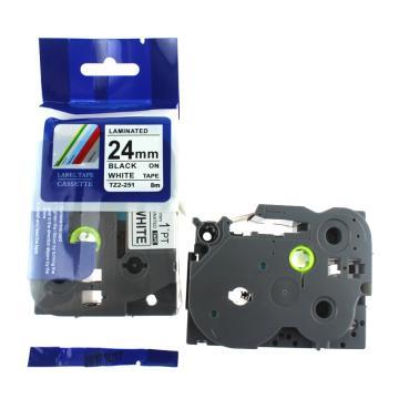 普贴 标签色带,白底黑字TZ2-251宽度24mm 适用于兄弟TZ系列标签机 单位:卷