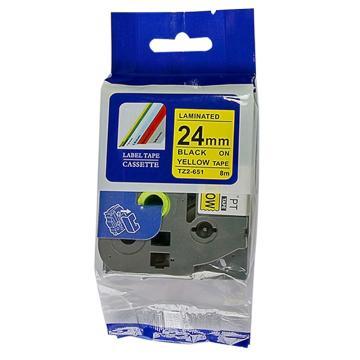 普贴 标签色带,黄底黑字TZ2-651宽度24mm 适用于兄弟TZ系列标签机 单位:卷