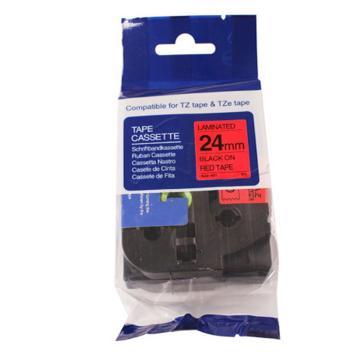 普贴 标签色带,红底黑字TZ2-451宽度24mm 适用于兄弟TZ系列标签机 单位:卷
