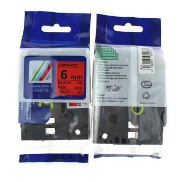 普贴 标签色带,红底黑字TZ2-411宽度6mm 适用于兄弟TZ系列标签机 单位:卷