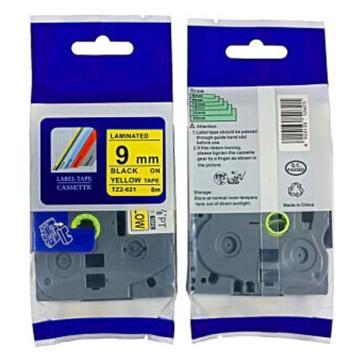 普贴 标签色带,黄底黑字TZ2-621宽度9mm 适用于兄弟TZ系列标签机 单位:卷