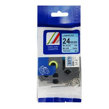 普贴 标签色带,蓝底黑字TZ2-551宽度24mm 适用于兄弟TZ系列标签机 单位:卷