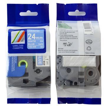 普贴 标签色带,蓝底白字TZ2-555宽度24mm 适用于兄弟TZ系列标签机 单位:卷