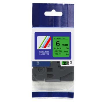 普贴 标签色带,绿底黑字TZ2-711宽度6mm 适用于兄弟TZ系列标签机 单位:卷