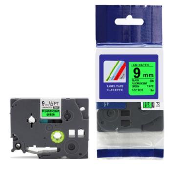普贴 标签色带,绿底黑字TZ2-721宽度9mm 适用于兄弟TZ系列标签机 单位:卷