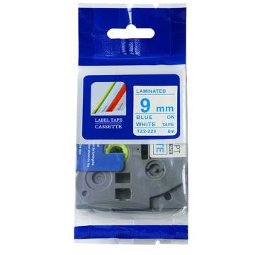 普贴 标签色带,白底蓝字TZ2-223宽度9mm 适用于兄弟TZ系列标签机 单位:卷