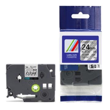 普貼 標簽色帶,透明底黑字TZ2-151寬度24mm 適用于兄弟TZ系列標簽機 單位:卷