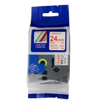 普贴 标签色带,白底红字TZ2-252宽度24mm 适用于兄弟TZ系列标签机 单位:卷