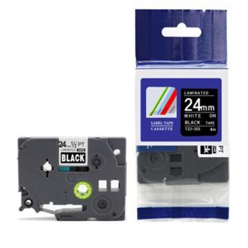 普贴 标签色带,黑底白字TZ2-355宽度24mm 适用于兄弟TZ系列标签机 单位:卷