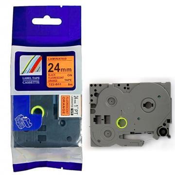 普贴 标签色带,荧光橙底黑字TZ2-B51宽度24mm 适用于兄弟TZ系列标签机 单位:卷