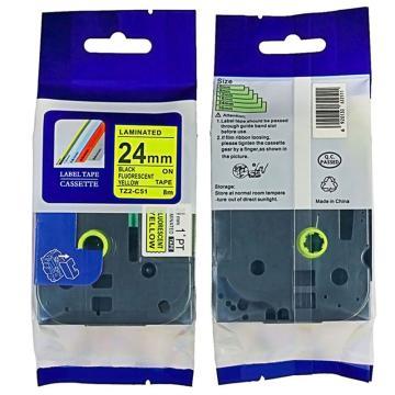 普贴 标签色带,荧光黄底黑字TZ2-C51宽度24mm 适用于兄弟TZ系列标签机 单位:卷