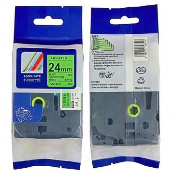 普贴 标签色带,荧光绿底黑字TZ2-D51宽度24mm 适用于兄弟TZ系列标签机 单位:卷