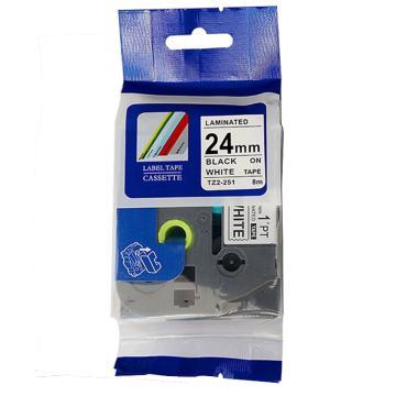 普贴 标签色带,保密白底黑字TZ2-SE5宽度24mm 适用于兄弟TZ系列标签机 单位:卷