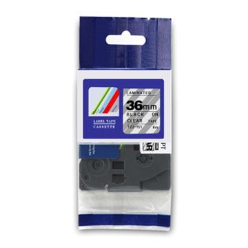 普贴 标签色带,透明底黑字TZ2-161宽度36mm 适用于兄弟TZ系列标签机 单位:卷