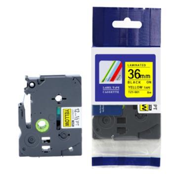 普贴 标签色带,黄底黑字TZ2-661宽度36mm 适用于兄弟TZ系列标签机 单位:卷